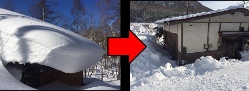 戸隠の雪下ろしBA