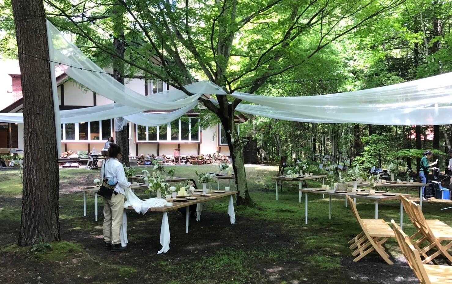 軽井沢町 結婚式場設営1