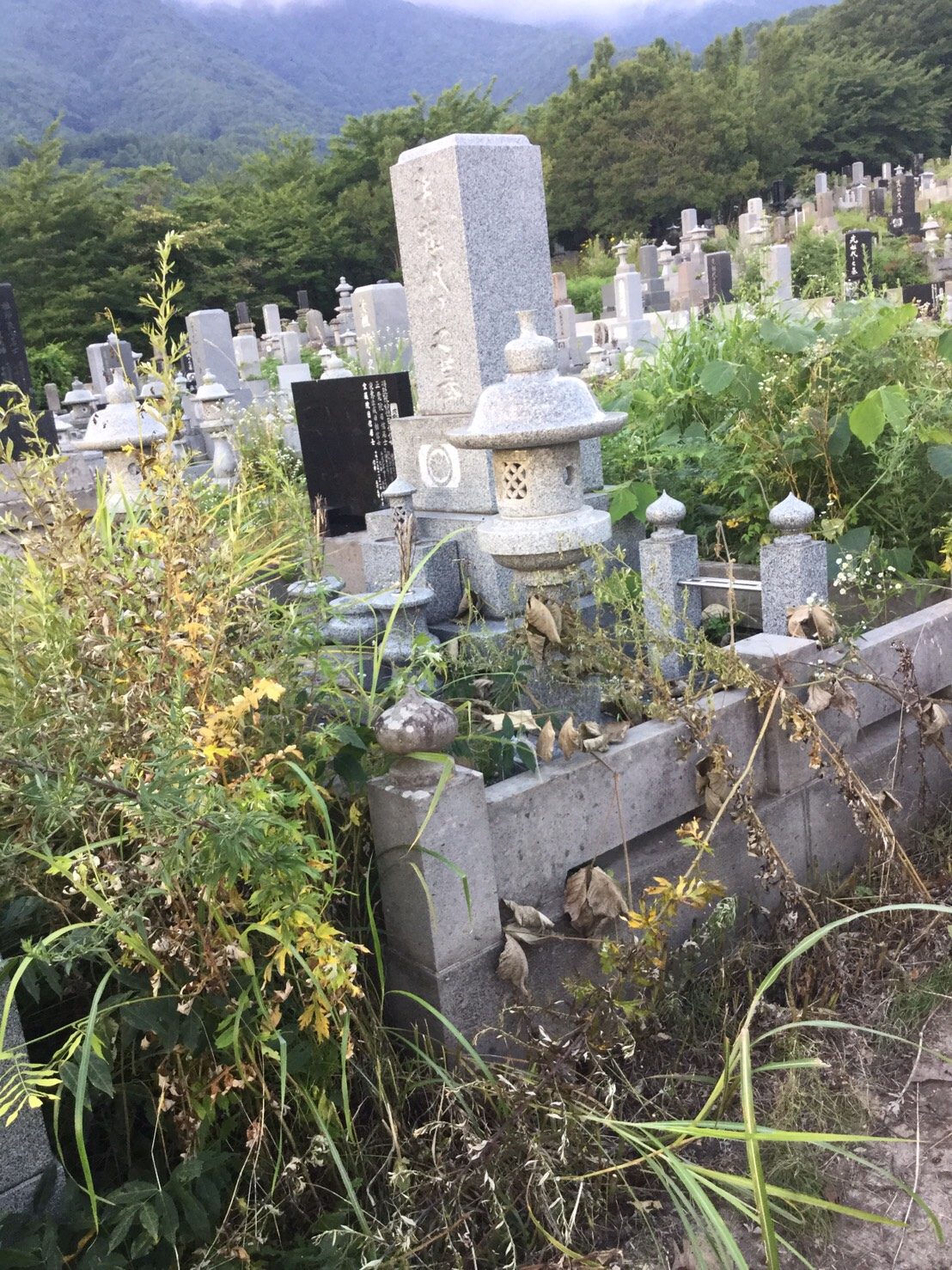 中野市赤岩 お墓掃除1